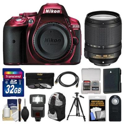 Nikon D5300 Digital SLR Camera Body (Red) with 18-140mm VR Zoom Lens + 32GB Card + Backpack + Flash + Battery + Tripod Kit