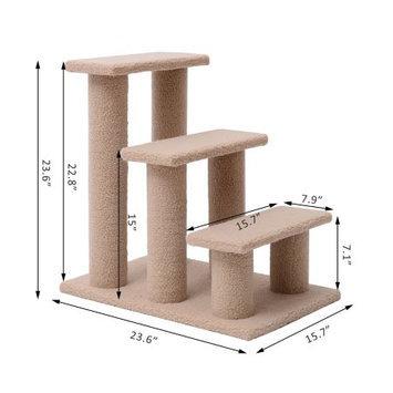 Pawhut 24 3 Step Scratching Post Cat Steps