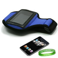 Unknown Apple iPod Touch 4th Generation Accessories Kit: Dark Blue Exercise Neoprene Armband + Custom Cut Full Body iPod Touch 4th Generation Screen Protector + VG Live * Laugh * Love Wrist Band!!!