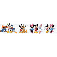 Mickey Mouse Mickey & Friends Wallpaper Border - Black/White
