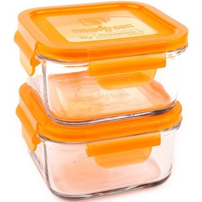 Wean Green Lunch Cubes Glass Food Containers, Carrot