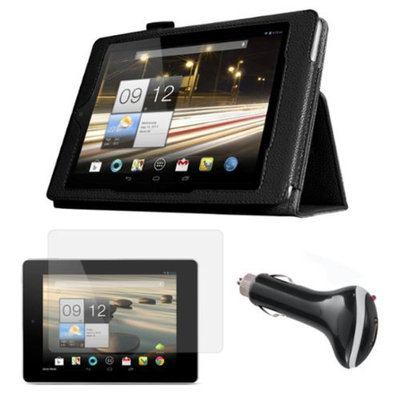 Black Folio Case with Screen Protector and Car Charger for Acer Iconia A