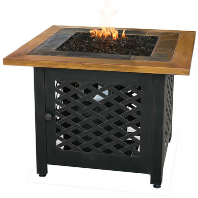 Uniflame UniFlame Lp Gas Outdoor Firebowl With Slate And Faux Wood Mantel