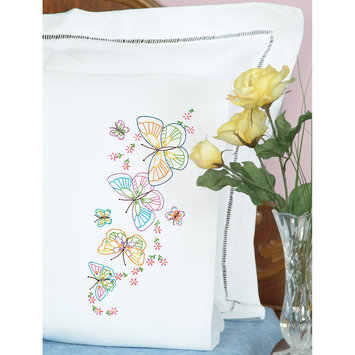 Jack Dempsey Inc. Stamped Pillowcases With White Perle Edge 2/Pkg-Fluttering Butterflies