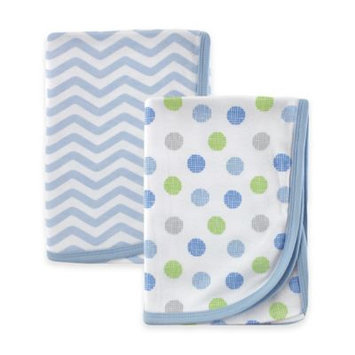 Baby Vision Luvable Friends 2 Pack Knit Receiving Blankets - Blue Chevron