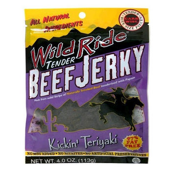 Wild Ride Beef Jerky, Kickin' Teriyaki, 4-Ounce Bags (Pack of 6)
