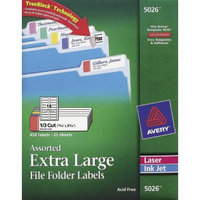 Avery Extra-Large 1/3-Cut File Folder Labels - White/Assorted (450