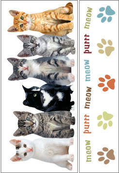 Paper House Productions, Inc Sticky Pix Removable & Repositionable Ultimate Wall Sticker Mini Mural Appliques - Kittens