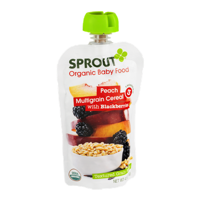 Sprout Organic Baby Food Peach Multigrain Cereal with Blackberries
