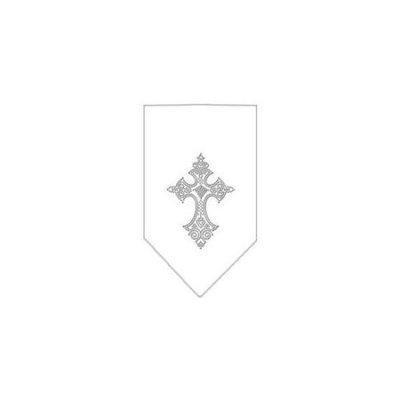 Ahi Cross Rhinestone Bandana White Large