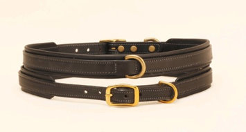 Tory Leather Padded Dog Collar 16 Inch Black
