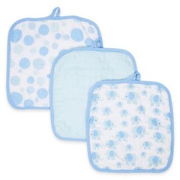 MiracleWare Elephants Muslin 3-Pack Baby Washcloth Set