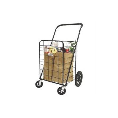 4-Wheel Super Deluxe Swiveler Shopping Cart, Black