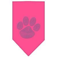 Mirage Pet Products 6754 SMBPK Paw Blue Rhinestone Bandana Bright Pink Small