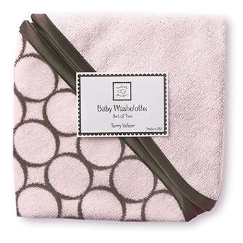 SwaddleDesigns Cotton Baby Washcloths, Brown Mod Circles, Set of 2 in Pastel Pink