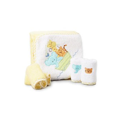 Spasilk Hooded Towel Set w 4 washcloths - Yellow Ark