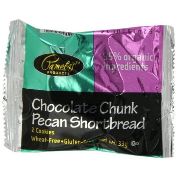 Pamela's Products Chocolate Chunk Pecan Shortbread, 2-Count Cookies (Pack of 50)