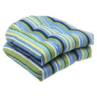 Pillow Perfect Outdoor 2-Piece Wicker Seat Cushion Set - Topanga Stripe