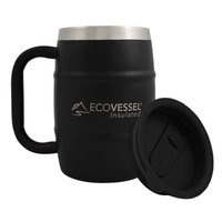 Ecovessel Eco Vessel Double Barrel Insulated Stainless Steel Beer/Coffee Mug with Lid, Shadow Black, 17 oz/500ml