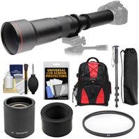 Vivitar 650-1300mm f/8-16 Telephoto Lens with 2x Teleconverter (=2600mm) + Monopod + Backpack + Filter Kit for Nikon 1 J2, J3, J4, S1, V2, V3 Camera
