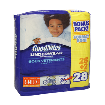 GoodNites Boys Size L-XL Underwear For Nighttime - 28 CT