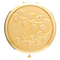 Welforth Round Compact Mirror (Gold Leaves w/Clear Rhinestones) - S4078GLD