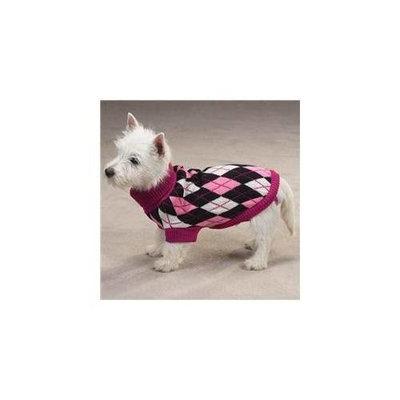 East Side Collection Pet Pals ZM4124 08 16 ESC Andover Argyle Sweater Xxsm Black-Pink