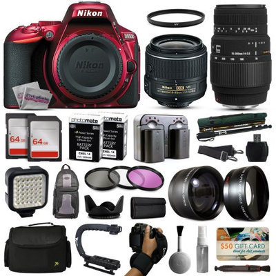 47th Street Photo Nikon D5500 Red DSLR Digital Camera + 18-55mm VR II + Sigma 70-300mm Lens + 128GB Memory + (2) Batteries + Charger + LED Video Light + Backpack + Carrying Case + 3 Piece Filter Kit + 2.2x Telephoto + 0.43x Wide Angle + X-Grip Action Handle + More!