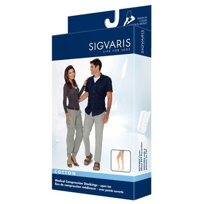Sigvaris 230 Cotton Series 20-30 mmHg Open Toe Thigh High Sock Size: Large Short