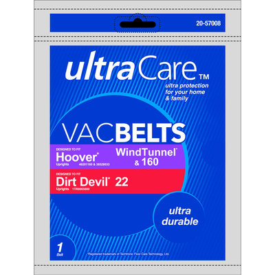 Ultracare UltraCare Vacuum Belt for Hoover type WindTunnel, 160; Dirt Devil type 22 Upright 1 Belt - THE EUREKA COMPANY