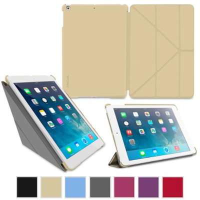 iPad Air 1 Case - roocase Origami Slim Shell iPad Air 2013 Folio Case Smart Cover (Supports Auto Sleep/Wake) for Apple iPad Air 1 (2013) 5th Generation, CHAMPAGNE GOLD