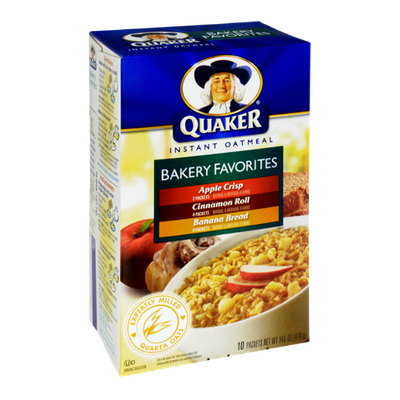 Quaker Instant Oatmeal Bakery Favorites - Apple Crisp, Cinnamon Roll, Banana Bread Flavor Packets