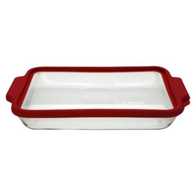 Anchor Hocking 3 Quart Glass Oblong with Lid - Clear/Red