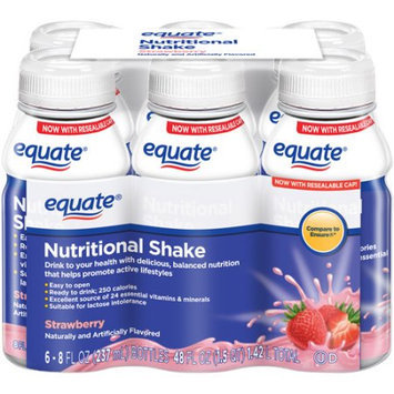 Equate Strawberry Nutritional Shake, 8 fl oz, 6 count