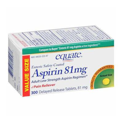 Equate Low Dose Aspirin 81 Mg Pain Reliever Tablets