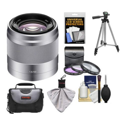 Sony Alpha NEX E-Mount 50mm f/1.8 OSS Lens (Silver) with 3 UV/FLD/PL Filters + Case + Tripod Kit for A7, A7R, A7S, A3000, A5000, A5100, A6000 Cameras
