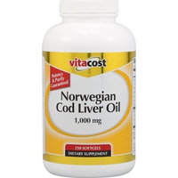 Vitacost Brand Vitacost Norwegian Cod Liver Oil -- 1,000 mg - 250 Softgels