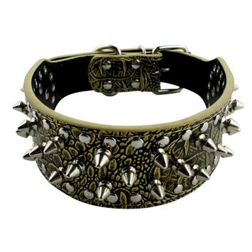 Pds Online Animal Pet Cat Dog Collar with Spikes Adjustable Buckle Closure