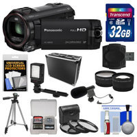 Panasonic HC-W850K Twin Recording HD Wi-Fi Video Camera Camcorder with 32GB Card + Hard Case + LED Light + Mic + Tripod + 3 Filters + 2 Tele/Wide Lens Kit