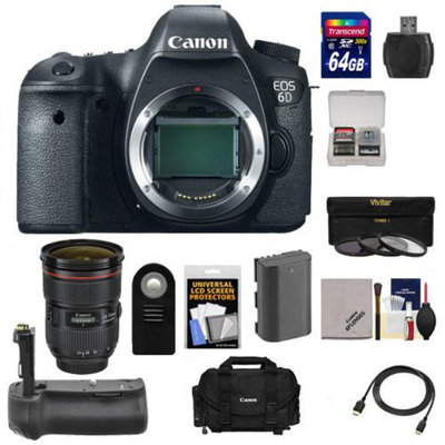 Canon EOS 6D Digital SLR Camera Body with EF 24-70mm f/2.8 L II USM Lens + 64GB Card + Battery + Grip + Case + 3 UV/CPL/ND8 Filters + Accessory Kit