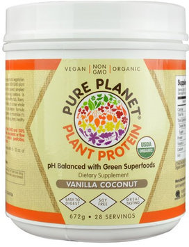 Pure Planet Organic Plant Protein Vanilla Coconut 28 Servings - Vegan