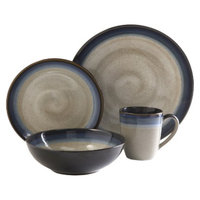 Gibson Couture Bands 16 Piece Dinnerware Set - Blue/Brown