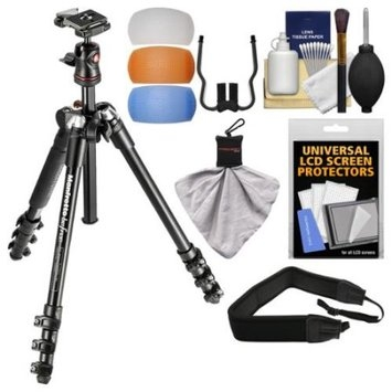 Manfrotto BeFree 56.7 inch Compact Tripod with Ball Head & Case (Black) with Diffuser Filter Set + Strap + Kit