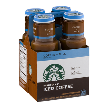Starbucks Iced Coffee Coffee + Milk - 4 CT