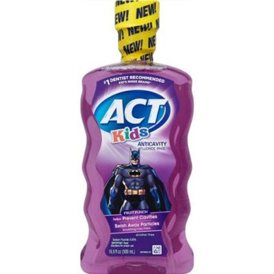 ACT Kids Batman Fruit Punch Anticavity Fluoride Rinse, 16.9 fl oz