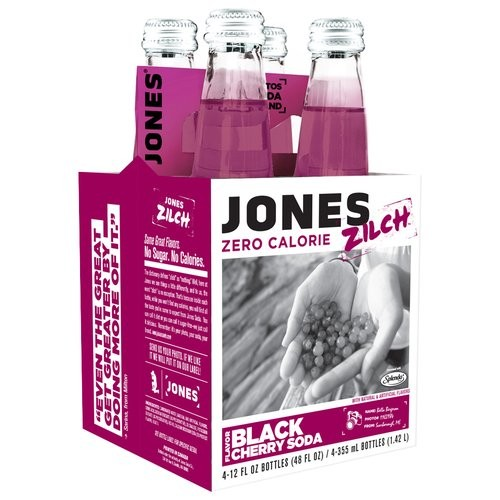 Jones Soda Jones Zilch Zero Calorie Black Cherry Soda, 12 fl oz, 4 pack
