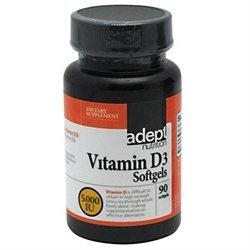 Adept Nutrition 5130012 Vitamin D3 5#44;000 IU 90 Softgels