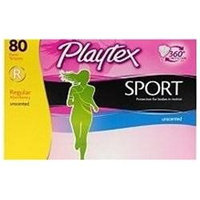 Playtex Sport Tampons, Unscented Regular Absorbency, 80ct