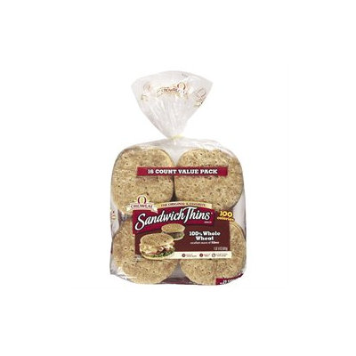 Oroweat 100% Whole Wheat Sandwich Thins Rolls - 16 ct.