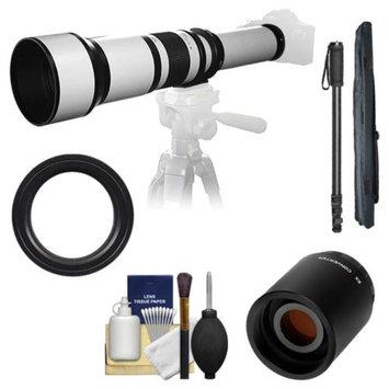 Samyang 650-1300mm f/8-16 Telephoto Lens (White) with 2x Teleconverter (=650-2600mm) + Monopod Kit for Nikon D3100, D3200, D5100, D7000, D700, D800, D4 Digital SLR Cameras